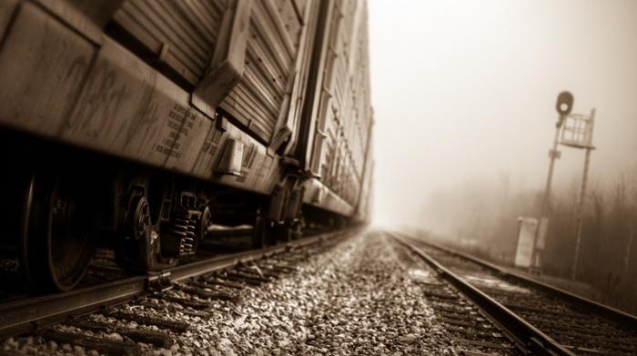 depth of field, train, railway, sepia