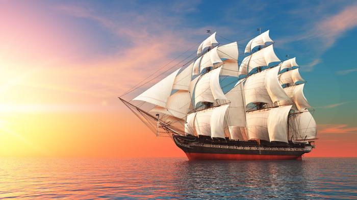 Sun, sailfish, painting, painting, flag, sunset, sky, sea, stunner