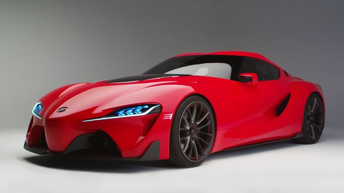 white, headlights, cars, gray, red, Toyota, sportcar, wheels, background
