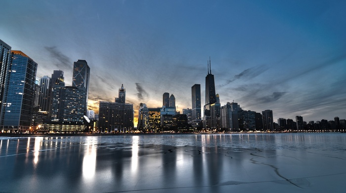 sea, USA, HDR, Chicago, reflection, cityscape, building