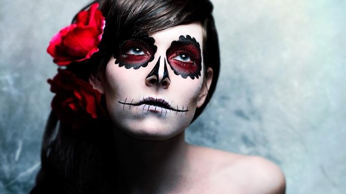 makeup, face, girl, sugar skull