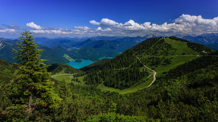 lake, road, Alps, clouds, mountain, forest, nature