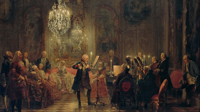 king, chandeliers, oil painting, Prussia, piano, classic art, artwork, candles, painting, flute, musicians, concerts