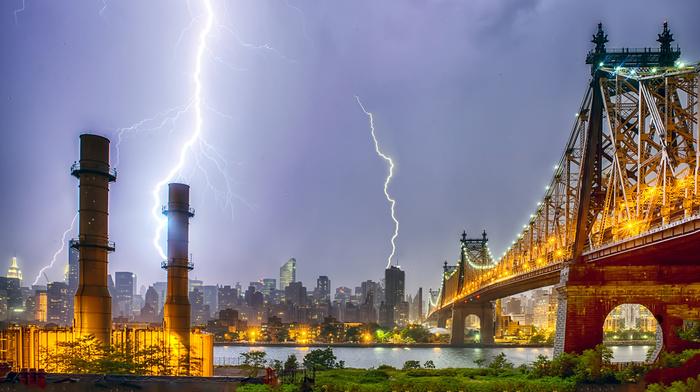 city, cities, lightning, skyscrapers, evening, bridge