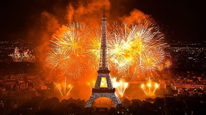 holiday, city, Paris, evening, Eiffel Tower, lights, stunner
