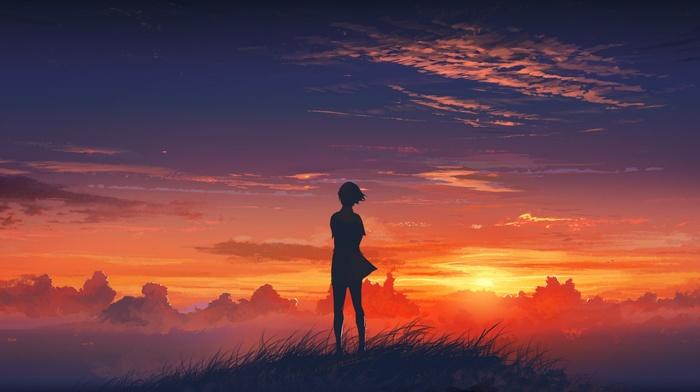 anime, sunset, anime girls, clouds, sky, original characters