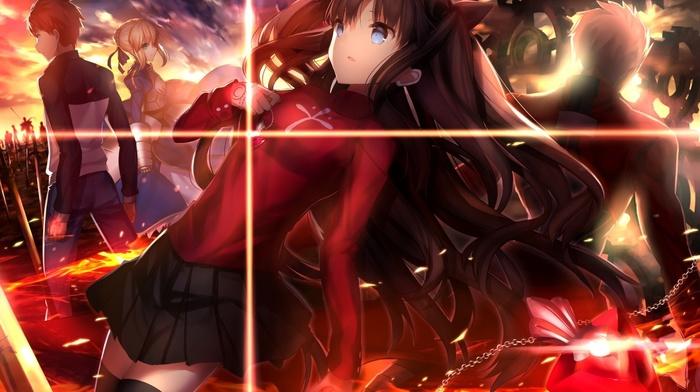 fate series, FateStay Night, Tohsaka Rin, Saber, Shirou Emiya, anime, Archer FateStay Night