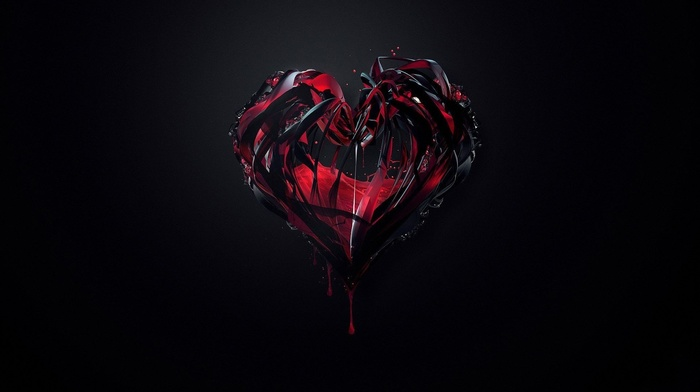 heart, 3D, red, background, black, beautiful