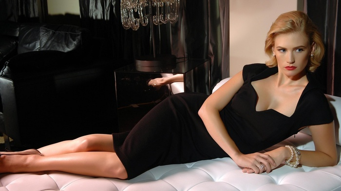 January Jones, black dress, in bed