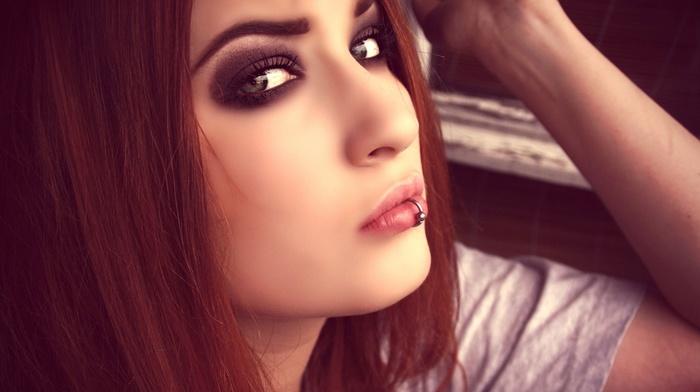 girl, redhead, piercing, niky von macabre