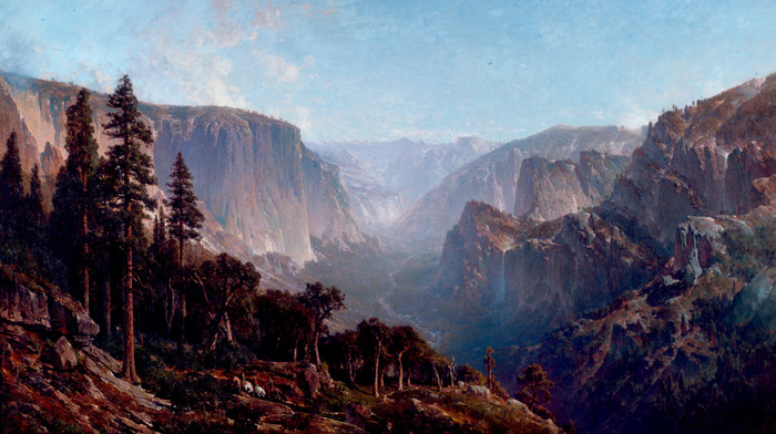 painting, waterfall, forest, stunner, painting, mountain, canyon