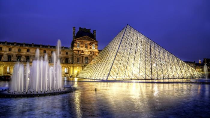 вечер, музей, города, france, архитектура, город, Париж, пирамида, louvre, фонтан, Франция
