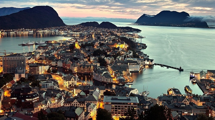mountain, water, beauty, cities, Norway, lighting, city, sunset, lights, houses