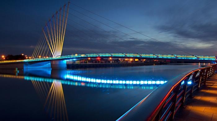 embankment, river, lights, sky, cities, beauty, night, city, bridge, lighting