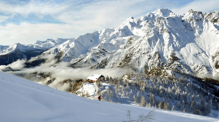 mountain, forest, beauty, trees, nature, snow, sky, winter, lodge