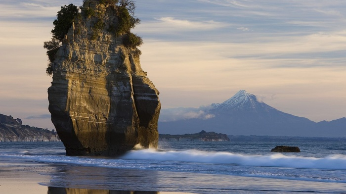 rock, sky, ocean, beauty, wave, coast, stunner