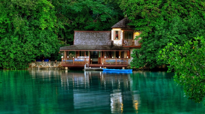 trees, resort, lodge, boat, rest, beauty, lake, greenery, summer