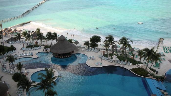 trees, lodge, rest, beach, beauty, ocean, swimming pool, resort