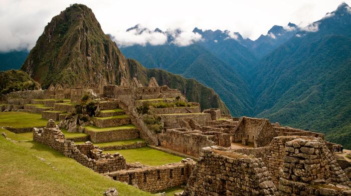 руины, древность, камень, архитектура, горы, Перу, природа, Мачу Пикчу, облака