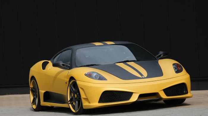 yellow, black, Ferrari, supercar, cars, Italy, sportcar, tuning, wheels