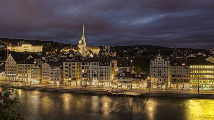 embankment, beauty, night, Switzerland, lighting, lights, river, cities