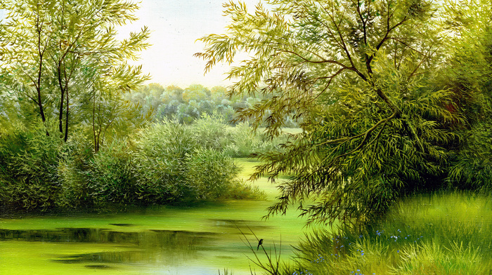 bird, river, trees, pond, painting, bay, flowers, summer, painting, nature