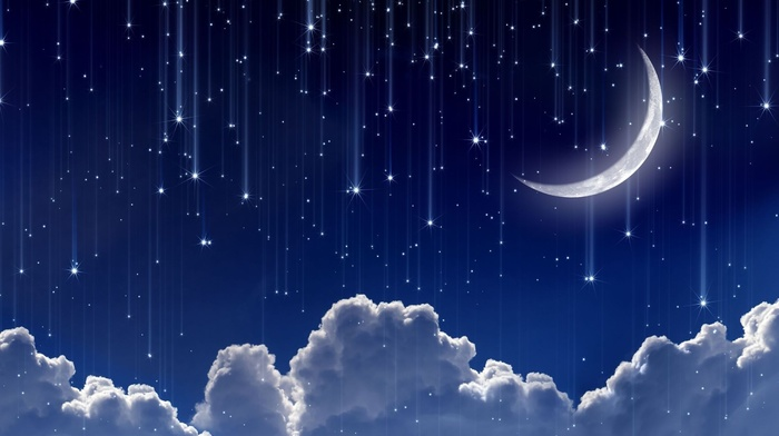 space, clouds, stunner, moon, stars, sky, photoshop