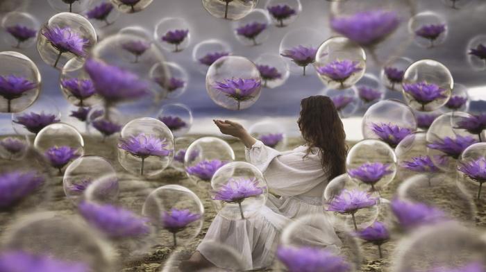 fantasy, bubbles, balloon, beach, sea, girl, creative, brunette, flowers