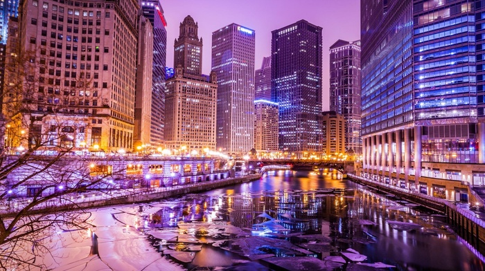 Chicago, river, building, HDR, ice, cityscape, lights