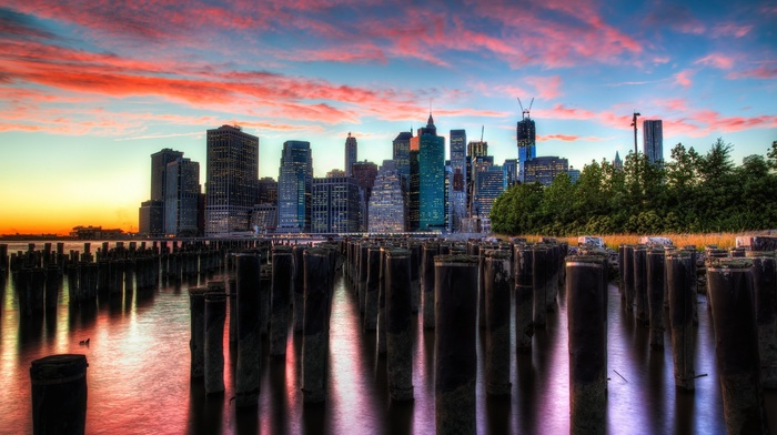 clouds, reflection, sea, building, sunset, cityscape, HDR
