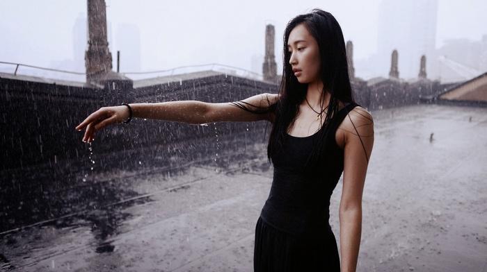 wet, wet hair, girl outdoors, girl, rain, model, Asian, brunette