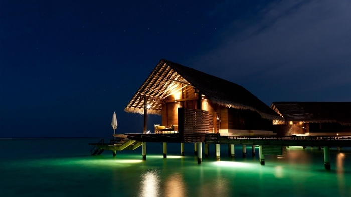 reflection, water, lighting, beauty, lodge, lights, ocean, night, resort, rest