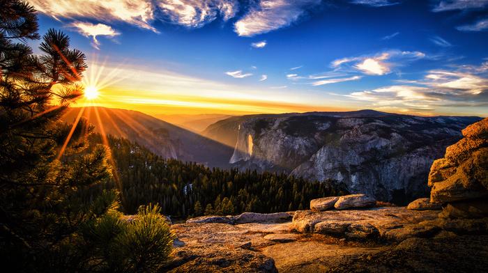 USA, sky, nature, mountain, beautiful, forest, Sun, park