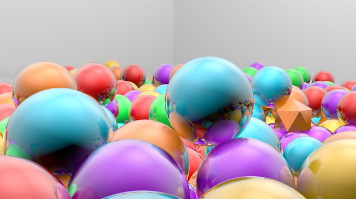 3D, reflection, balloon, colors, beautiful