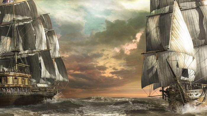 storm, stunner, photoshop, England, cloudy, sea, art, ocean, sky, sailfish, ships