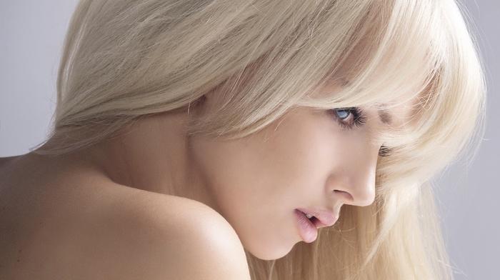 smooth skin, girl, bare shoulders, face, blonde, blue eyes