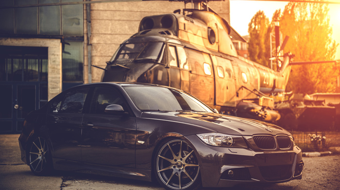 helicopter, BMW, sunset, cars, background, sportcar