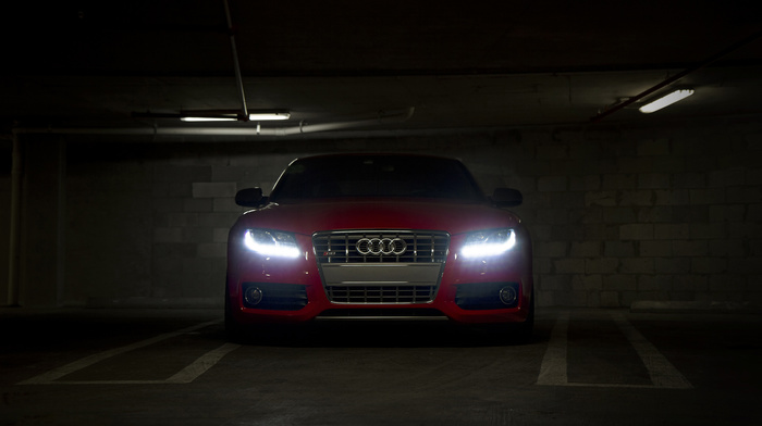 supercar, parking, cars, headlights, Audi, red