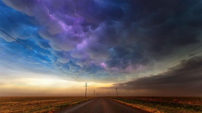 utility pole, road, clouds, lightning, landscape, power lines