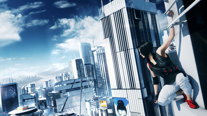 clouds, skyscrapers, sky, video games