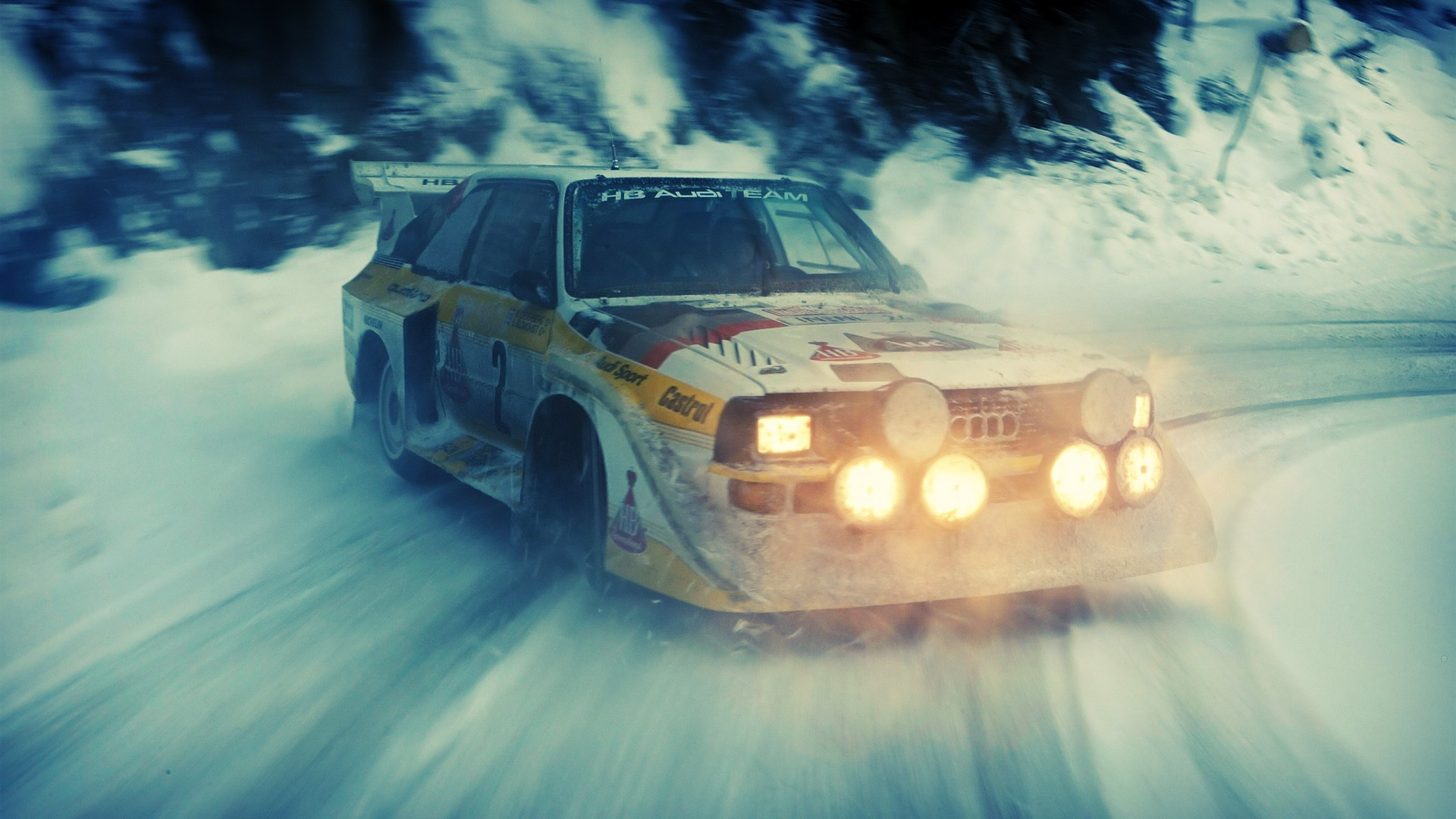 lights, old car, rally cars, snow, sports, audi quattro ...