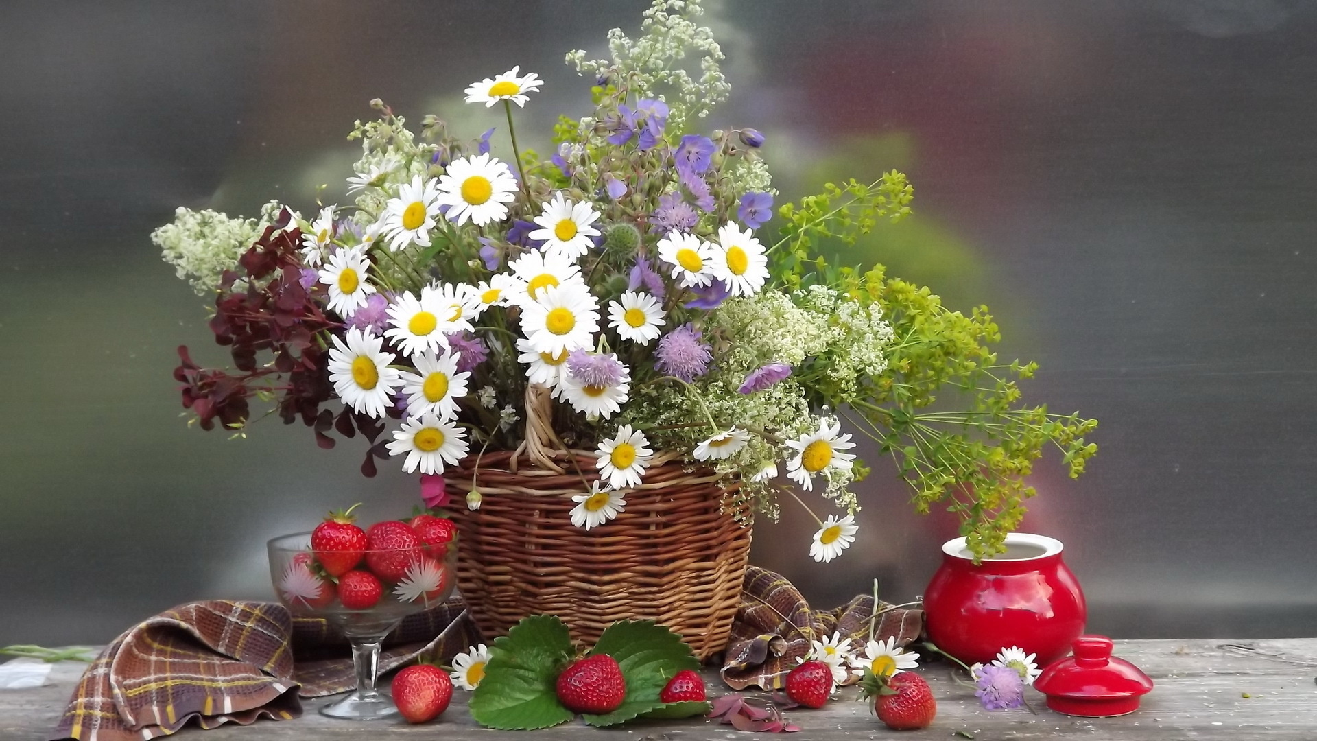 Bouquet Flowers Flower Basket Chamomile Wallpaper 90726