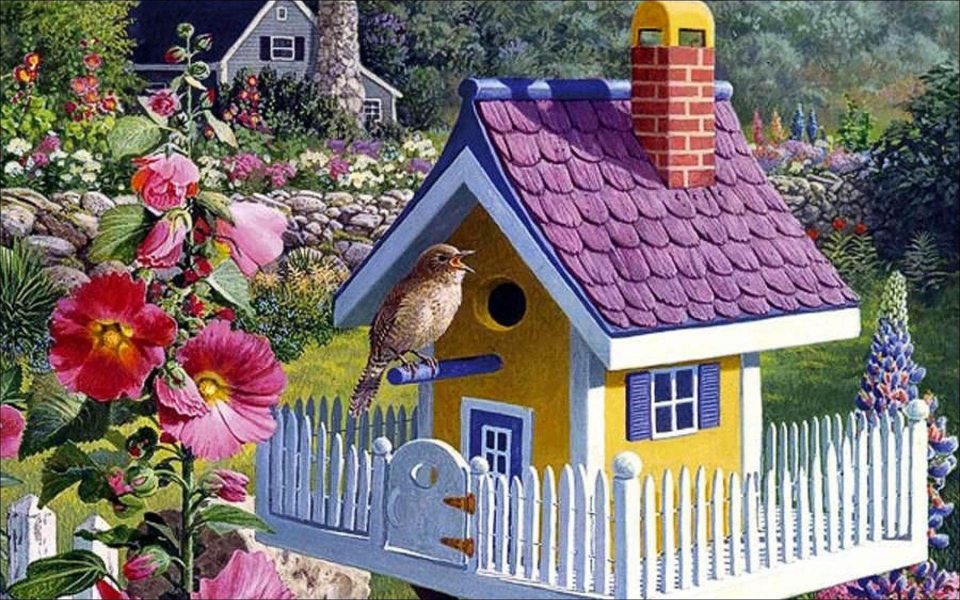 Фото домика с цветами
