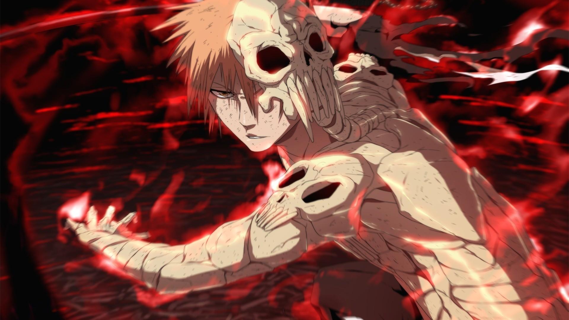 Skull Anime Boys Kurosaki Ichigo Hell Bleach