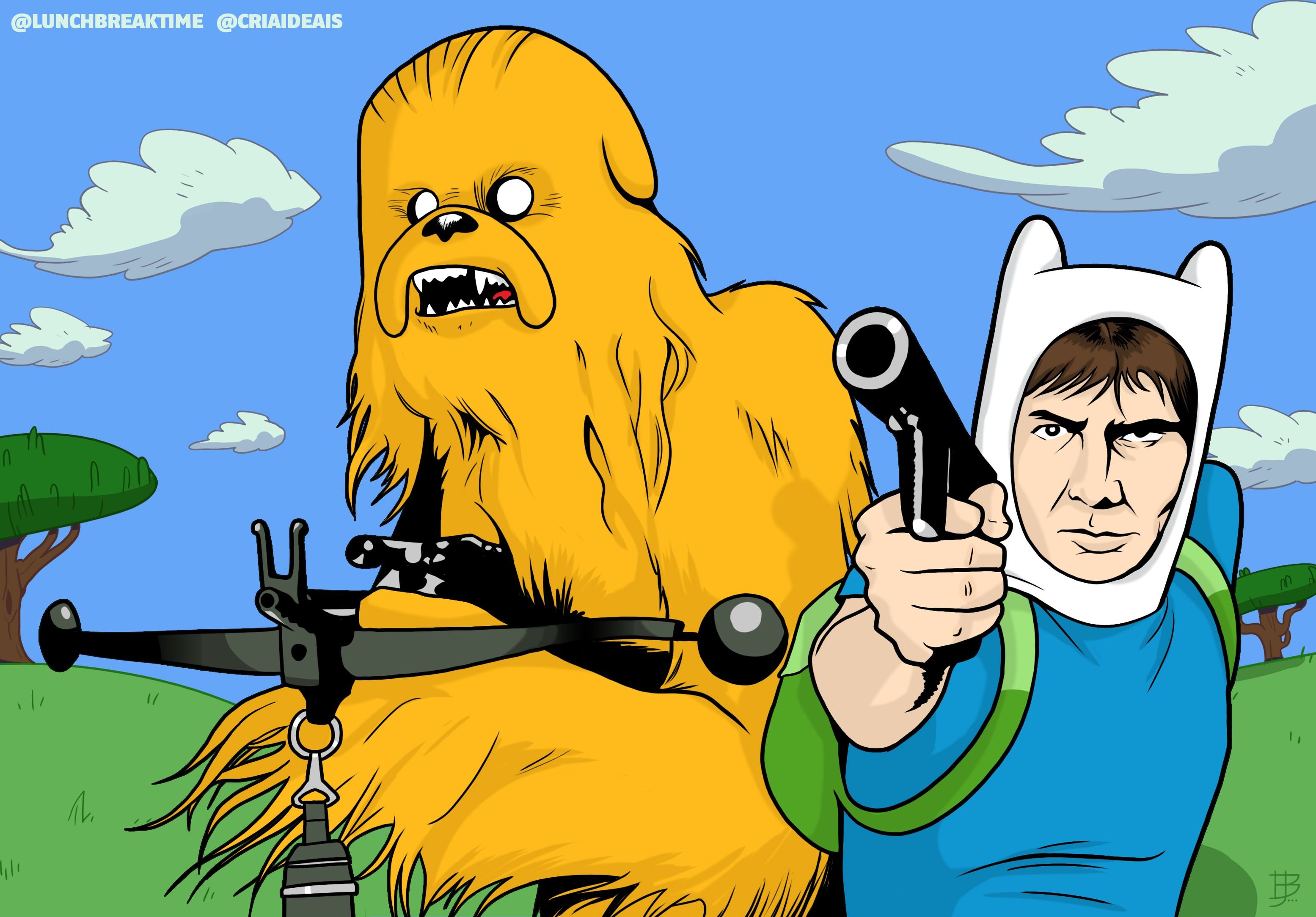 crossover, Adventure Time, Star Wars, Han Solo, Chewbacca, Jake the ...