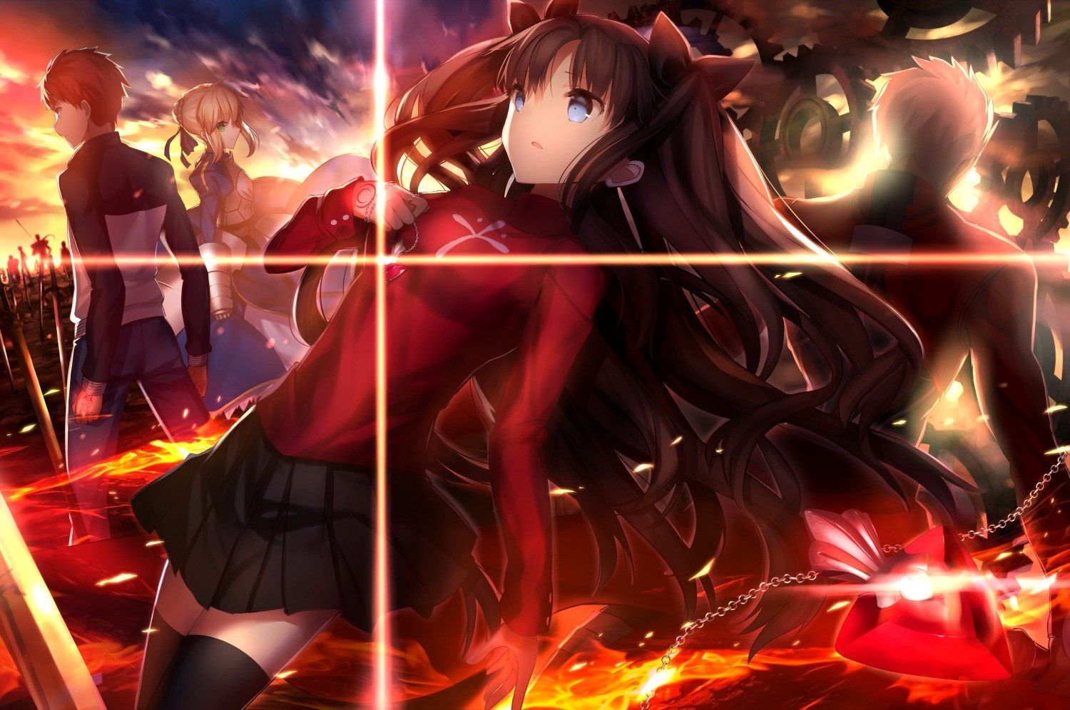 Fate Series FateStay Night Tohsaka Rin Saber Shirou Emiya Anime