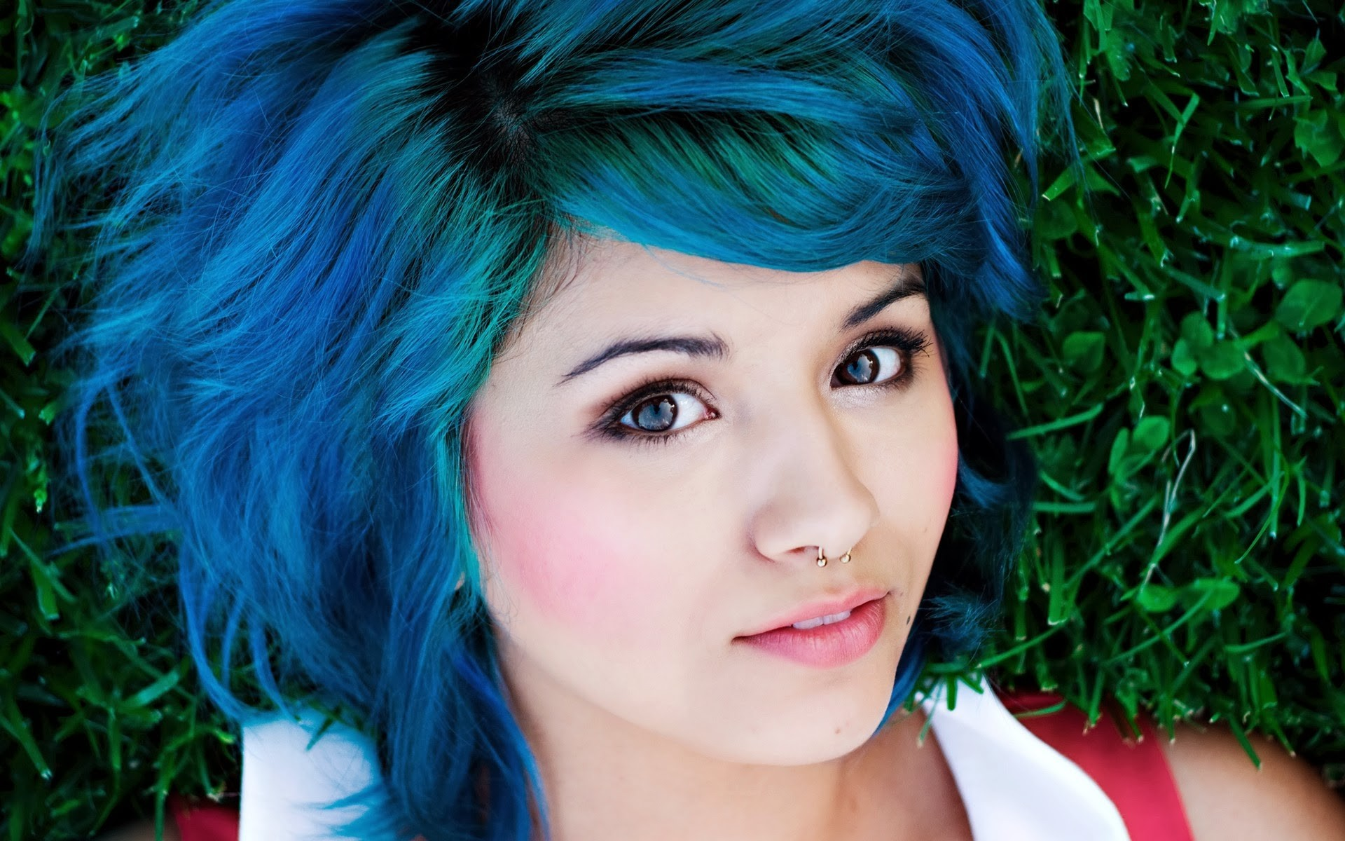 piercing, nose rings, Lia Curtis, girl, blue hair, face ...
