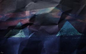 фиолетовый, пирамида, абстрактные, бумага, цифровое искусство