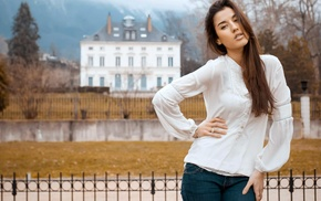 brunette, blurred, girl, fence, long hair, white clothing