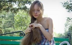 bench, girl, model, long hair, bare shoulders